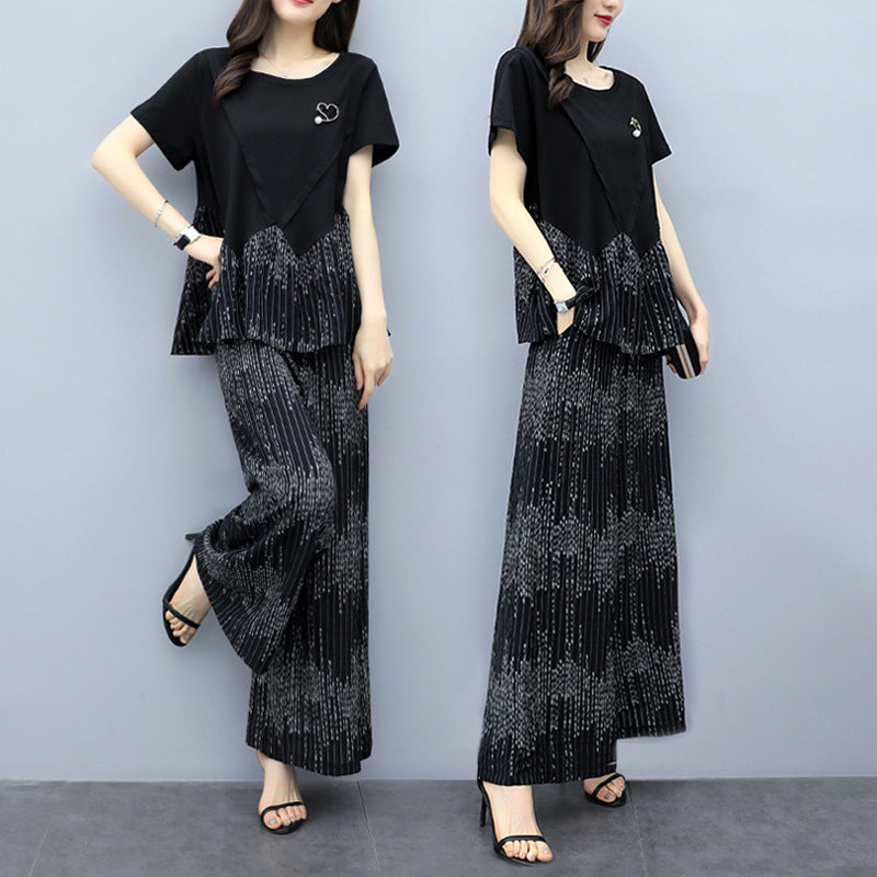 Plus Size Summer Elegant Black Cotton Loose Blouse&Pants Two Piece Set
