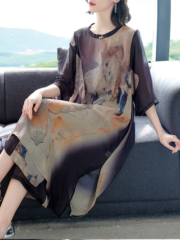 Elegant Summer Printed Half Sleeve O-neck Silk Dress & Culottes Set