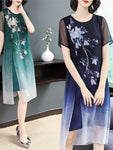 Elegant Summer Blue/Green Flower Printed Silk double Cloth Midi Dress Slit