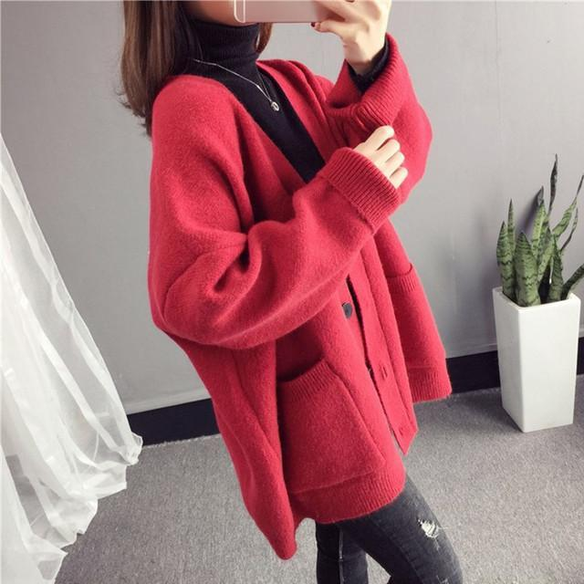 Fall Winter Casual Comfy V-neck Loose Knit Sweaters Cardigan For Women
