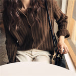 Fall Winter Lazy Warm Cashmere Solid Color Loose Knit Cardigan Sweaters Women