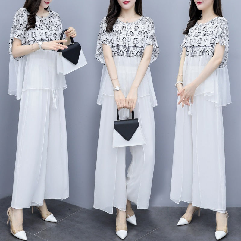 Summer Elegant White Printed Chiffon Loose Blouse&Pants Two Piece Set