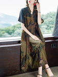 Summer Elegant Retro Printed Chiffon V-neck Sleeveless Dress&Loose Shirt Coat Two Piece Set