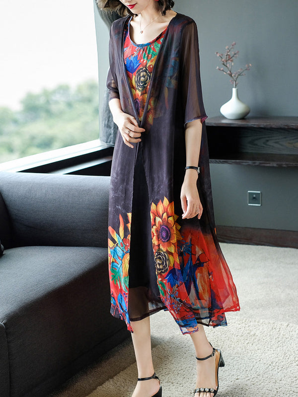 Summer Beautiful Sunflower Printed Silk Sleeveless Dress&Sun Protection Transparent Coat Two Piece Set