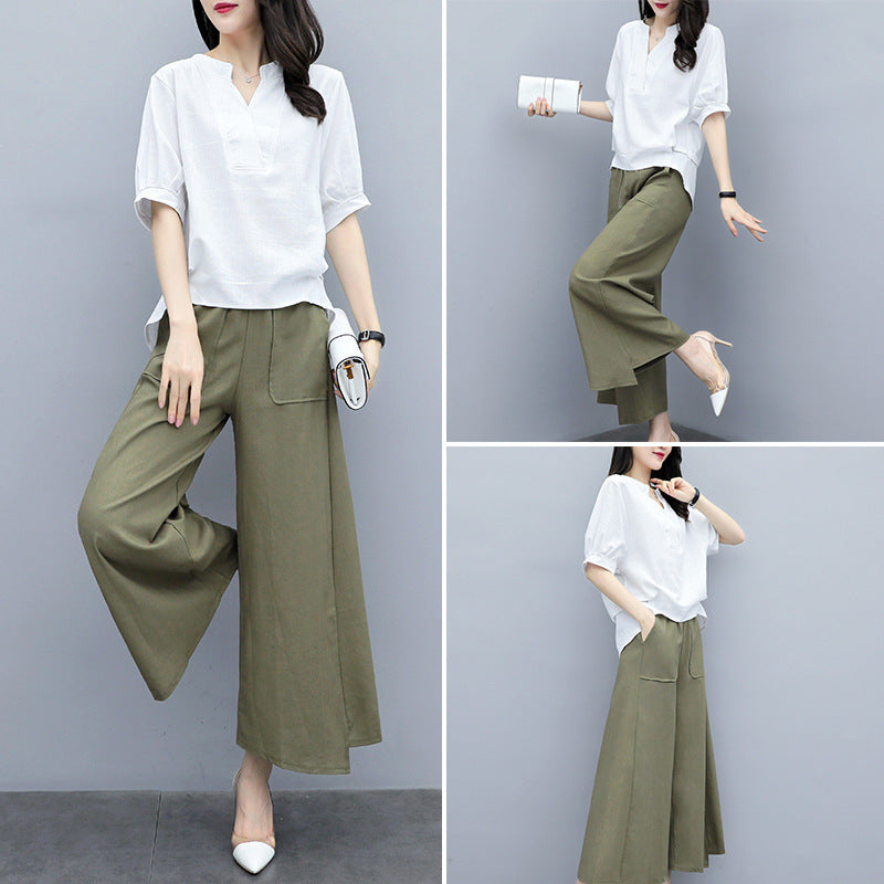 Summer Elegant Green/Red/Blue Half Sleeve Cotton Linen Blouse&Capri-pants Two Piece Set