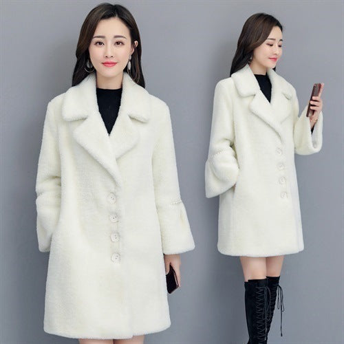 Fall Winter Sweet Warm Fur White/Pink Marten Hair Midi Overcoat For Women