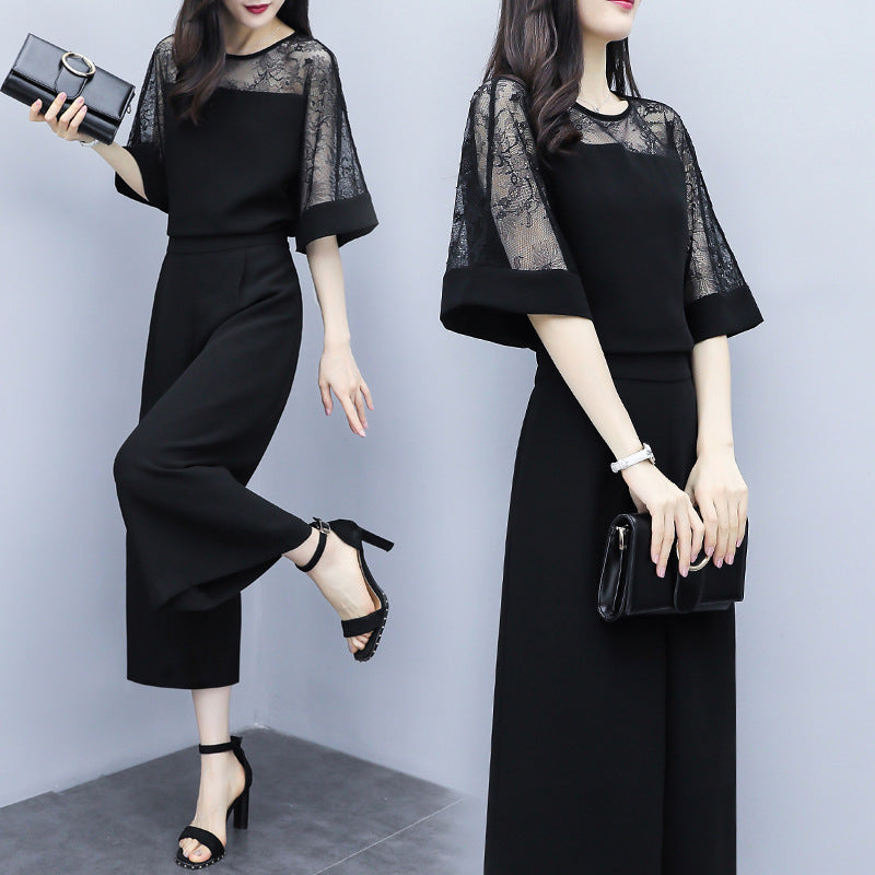 Elegant Black Solid Color Half Sleeve Lace Chiffon Blouse&Capri-pants Two Piece Set