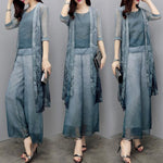 Summer Elegant Printed Half Sleeve Chiffon Blouse&Coat&Capri-pants Three Piece Set