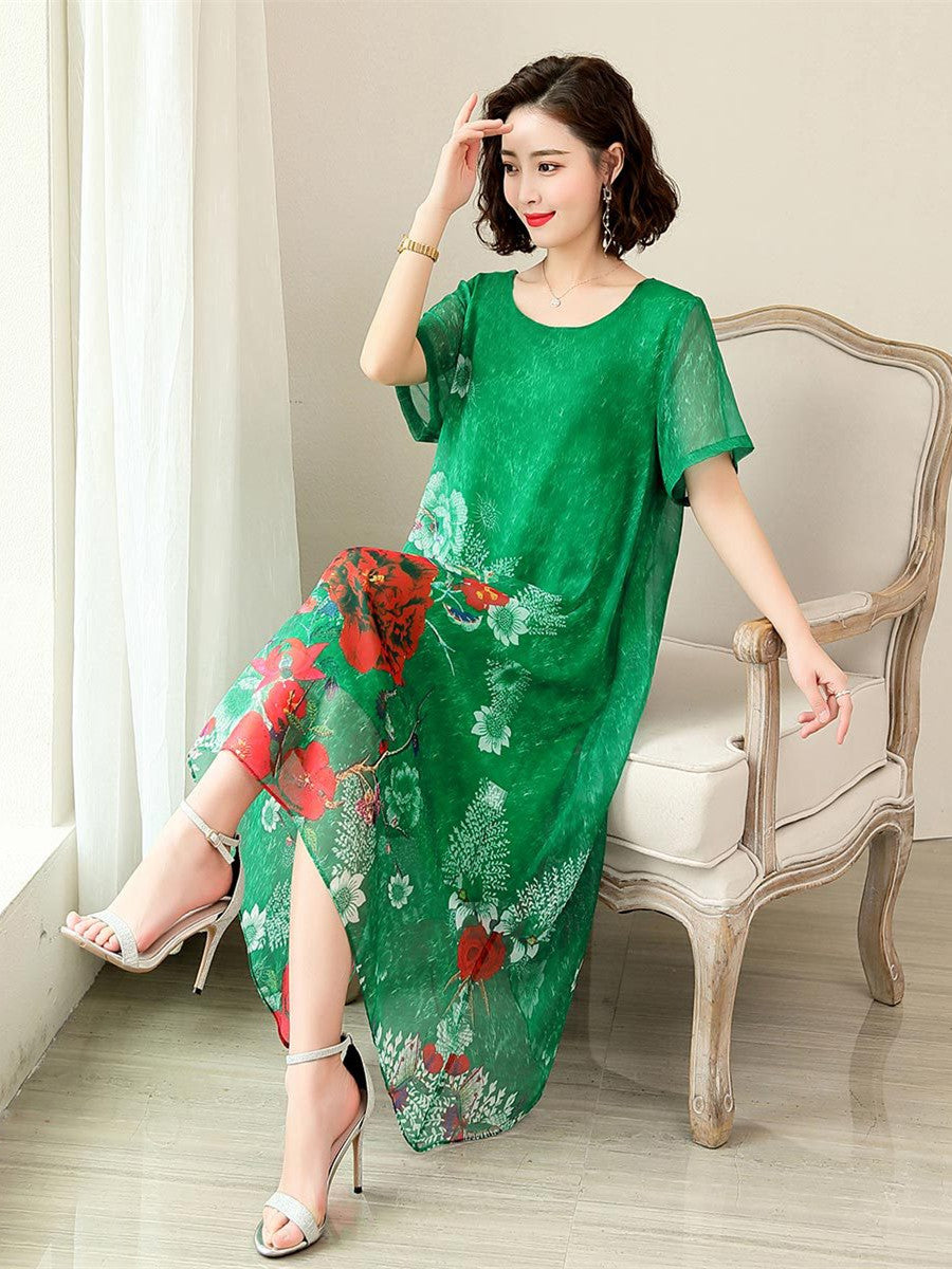 Plus Size Summer Elegant Flower Printed Short Sleeve Loose Imitated Silk Midi Dress