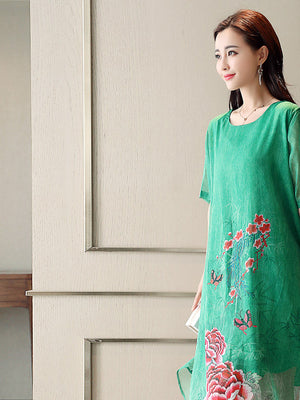 Summer Elegant Green/Red Flower Printed Short Sleeve Loose Imitated Silk Midi Dress