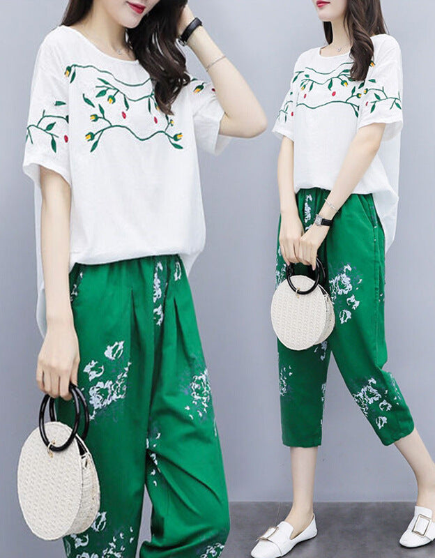 Plus Size Summer Casual Flower Embroidery Cotton/Linen Loose Tops&Pants Two Piece Set