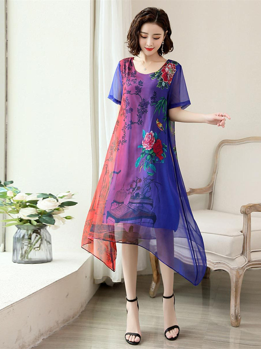 Plus Size Summer Elegant Gradient Printed Short Sleeve Loose Imitated Silk Midi Dress