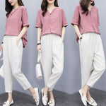 Summer Casual Red Half Sleeve Striped Cotton Linen Blouse&Capri-pants Two Piece Set