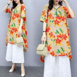 Summer Casual Printed Half Sleeve V-neck Cotton Linen Tops&Capri-pants Two Piece Set