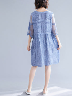 Plus Size Summer Casual Red/Blue Lace Embroidery 3/4 Sleeve V-neck Silk Midi Dress