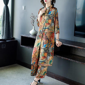 Fall Elegant Printed 3/4 Sleeve Stand Collar Loose Midi Tops&Capri-pants Two Piece Set