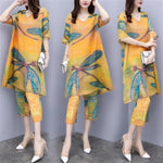 Elegant Printed Half Sleeve V-neck Chiffon Tops&Capri-pants Two Piece Set