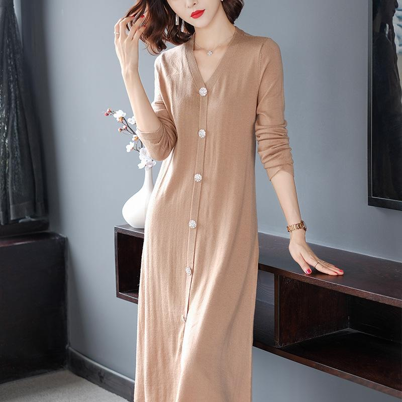 Women's Fall/Winter Casual Basic Solid Color Long Sleeve V-neck Button Knitting Midi Cardigan
