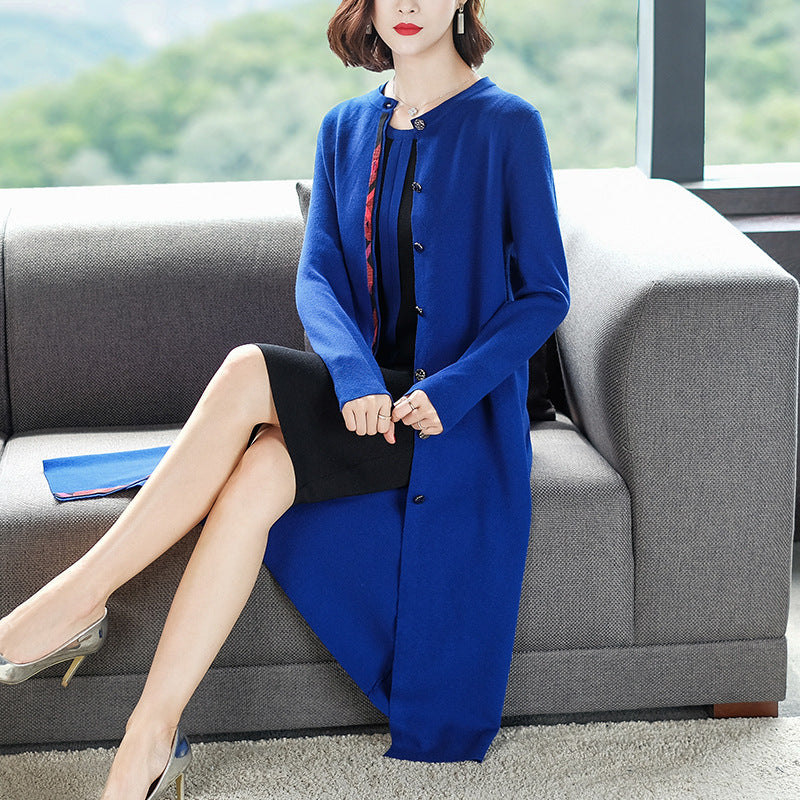 Fall/Winter Elegant Color Blocking Long Sleeve Knitting Midi Cardigan Coat