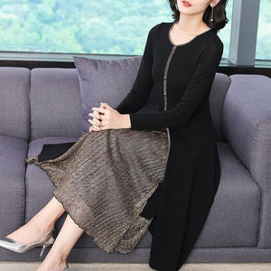 Fall Winter Elegant O-neck Bodycon Midi Fake-Two-Piece Dresses For Women