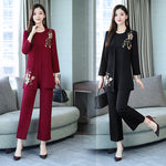 Fall Elegant Red/Black Embroidery Blouse&Coat&Capri-pants Three Piece Set Women