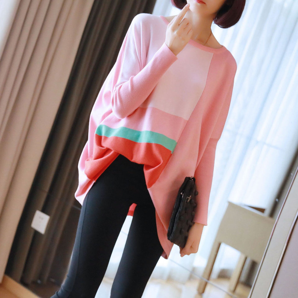 Plus Size Fall/Winter Fashion Pink/Blue Color Blocking Long Sleeve Knitting Sweaters Women