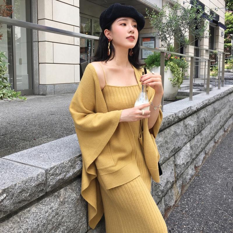 Fall Winter Fancy Solid Color Sweater Cardigan&Slip Dress Two Piece Set For Women