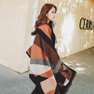 Fall Winter Fashion Warm Multifunctional Color Blocking Overlength Cape/Scarf  For Women