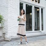 Fall Winter Fancy Striped Sleeveless Knit Sweater&Skirt Two Piece Set For Women