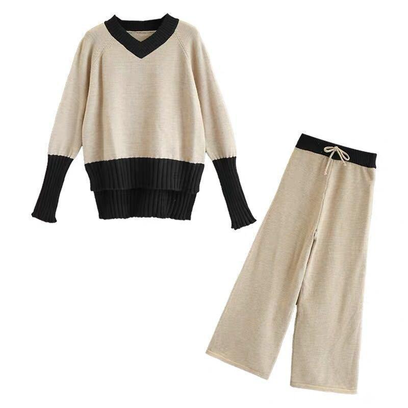 Fall Winter Fancy V-neck Color Blocking Knit Sweater&Wide-leg Pants Two Piece Set