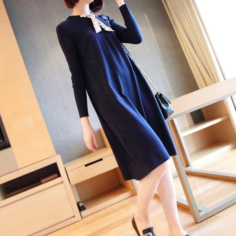 Fall/Winter Fashion Solid Color Long Sleeve Pullover Bottoming Knitting Dresses Women