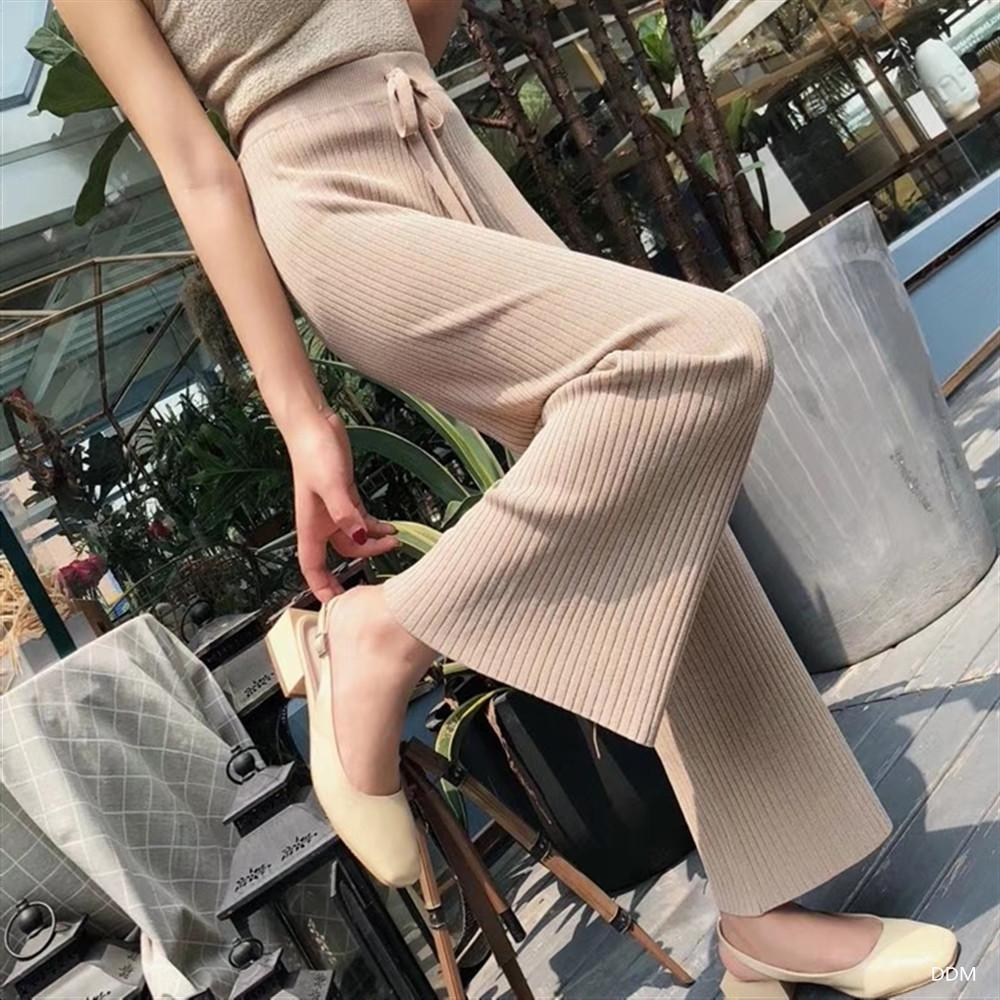 Fall Winter Fashion Solid Color Knit Wide-leg Pants For Women
