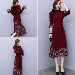 Fall/Winter Elegant Printed Long Sleeve Midi Dresses For Women