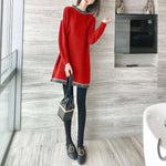Fall Winter Fancy Wool Tassel O-neck Knit Bottoming Sweater Midi Dresses  For Women
