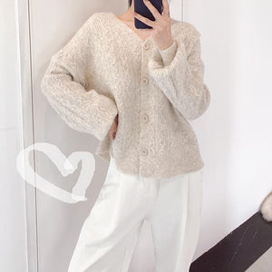 Fall Winter Fancy V-neck Puff Sleeve Knit Sweaters Cardigan For Women