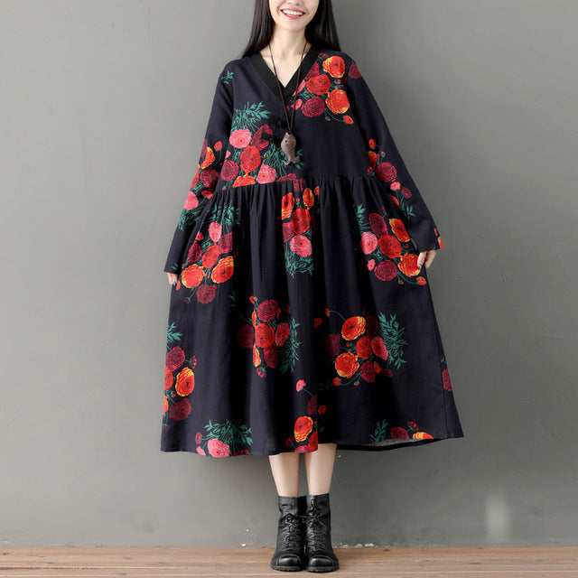 Fall Vintage Floral Printed Long Sleeve V-neck Loose Cotton&Linen Midi Dresses