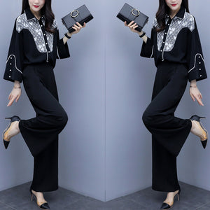 Fall Winter Elegant Black Color Blocking Turn-down Collar Long Sleeve Loose Shirts&Pants