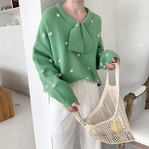 Fall/Winter Fashion Polka Dot Long Sleeve Loose Knit Sweaters Women Tops