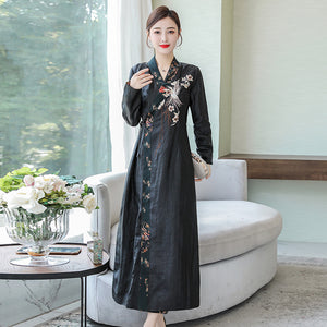 Fall Elegant Black Flower Embroidery V-neck Long Sleeve Maxi Dresses Women