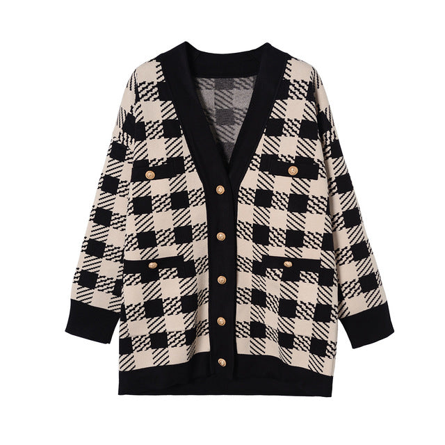 Fall Winter Retro Black/White Plaid V-neck Knit Cardigan Coats For Women