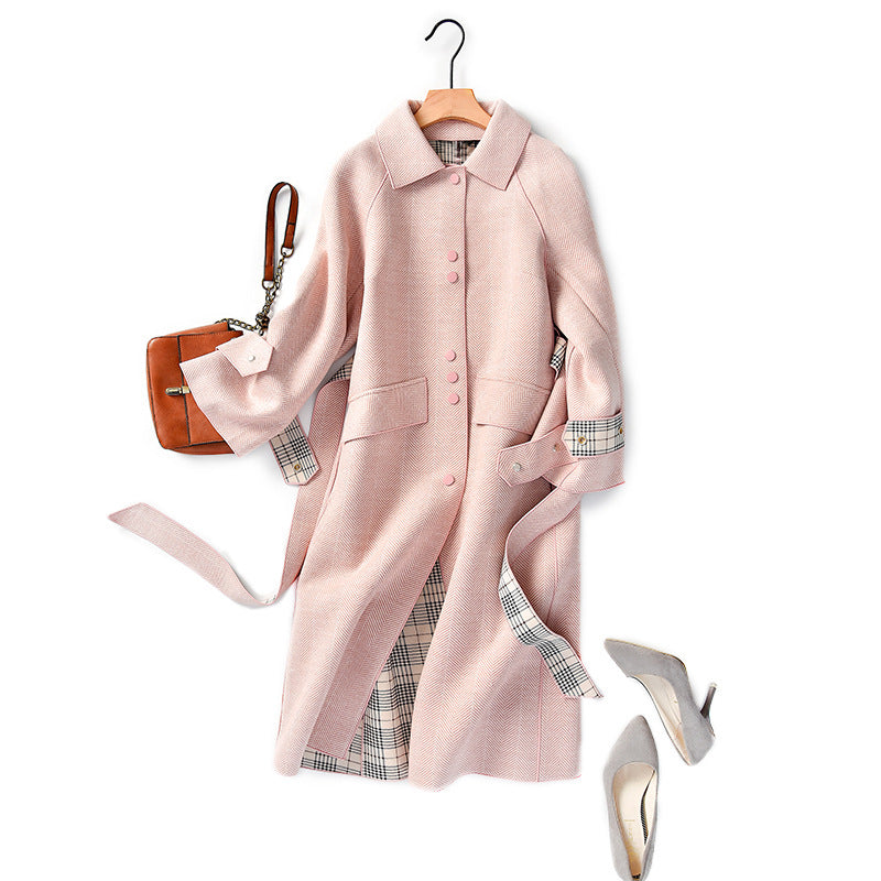 Fall Winter Fancy Pink Warm Wool Midi Overcoat For Women