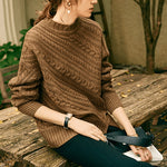 Fall Winter Retro Lazy Warm Cashmere Solid Color Knit Sweaters Women