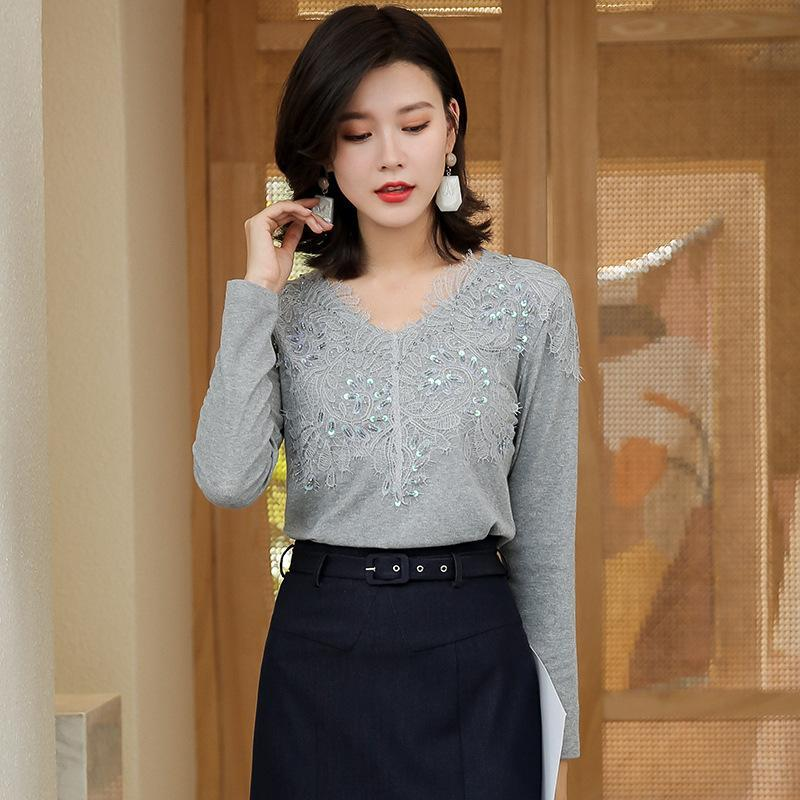 Fall/Winter Elegant Paillette Long Sleeve V-neck Knitting Women Tops