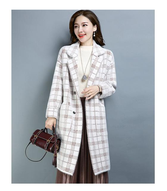 Fall Winter Fashion Warm Wool Plaid Loose Overcoats For Women