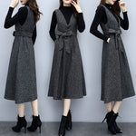 Fall Winter Elegant V-neck Slip Dress&Sweater 2 Piece Set For Women