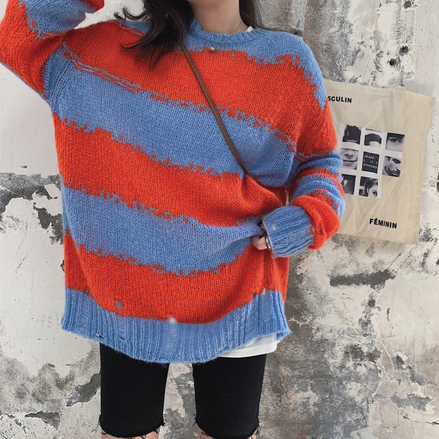 Plus Size Fall Winter Retro Lazy Color Blocking Knit Sweaters Women