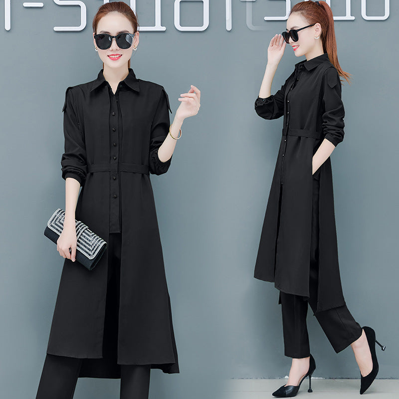 Fall Casual Black/Green Solid Color Blouse&Coat&Pants Three Piece Set Women