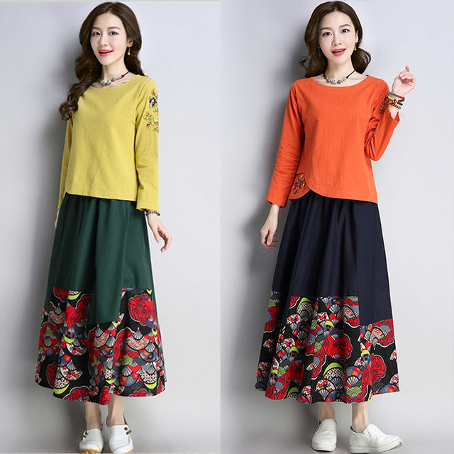 Fall Folk Embroidery Long Sleeve O Neck Loose Cotton&Linen Blouse/Skirt