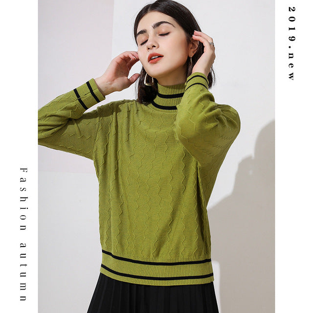 Fall/Winter Casual Color Blocking Long Sleeve Pullover Knitting Sweaters For Women