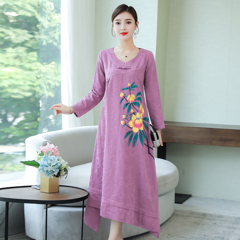 Fall Elegant Purple Flower Printed Long Sleeve Loose Cotton&Linen Dresses